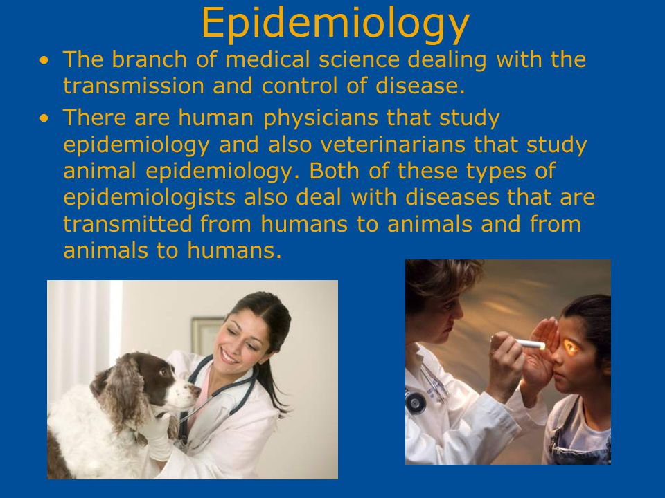 Epidemiology The branch of medical science dealing with the transmission and control of disease. There are human physicians that study epidemiology an