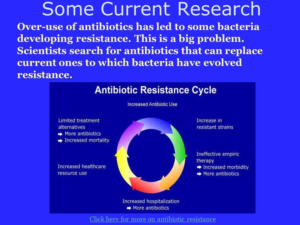 Some Current Research Over-use of antibiotics has led to some bacteria developing resistance. This is a big problem. Scientists search for antibiotics