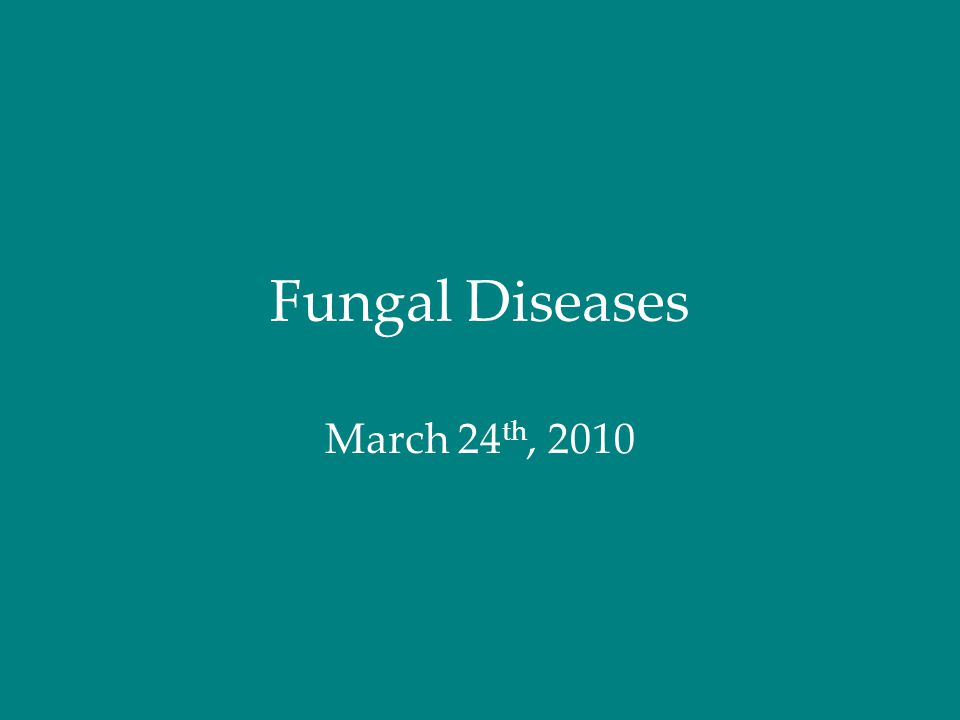 Fungal Diseases March 24 th, 2010