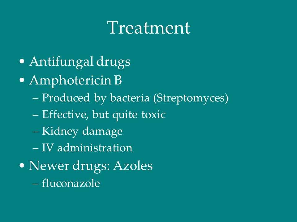 Treatment Antifungal drugs Amphotericin B –Produced by bacteria (Streptomyces) –Effective, but quite toxic –Kidney damage –IV administration Newer drugs: Azoles –fluconazole