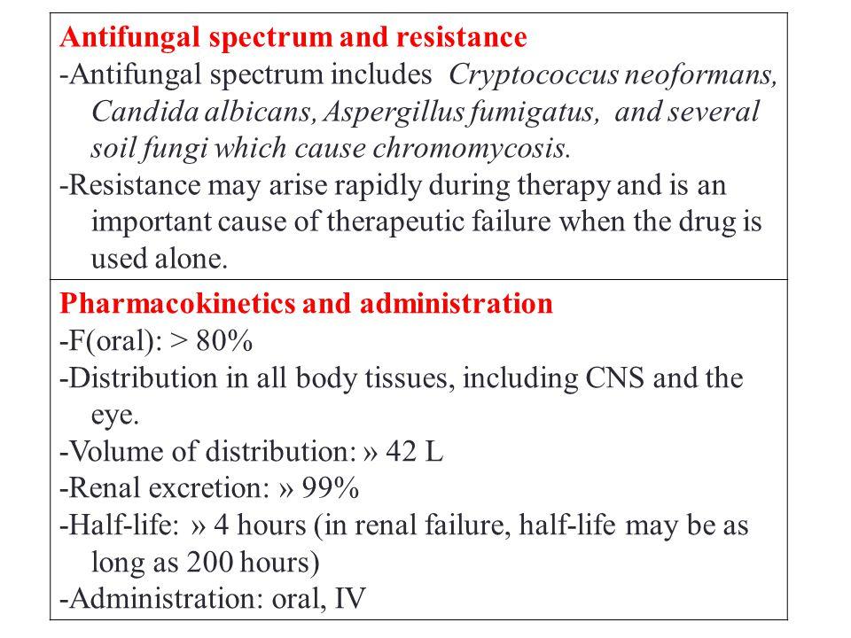 Antifungal spectrum and resistance -Antifungal spectrum includes Cryptococcus neoformans, Candida albicans, Aspergillus fumigatus, and several soil fungi which cause chromomycosis.