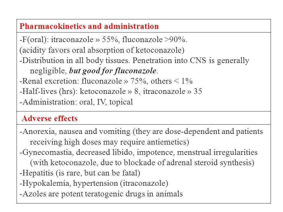 Pharmacokinetics and administration -F(oral): itraconazole » 55%, fluconazole >90%.