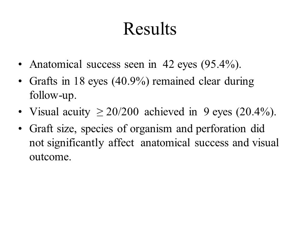 Results Graft size significantly correlated with graft clarity (p= 0.0016 chi- square test).