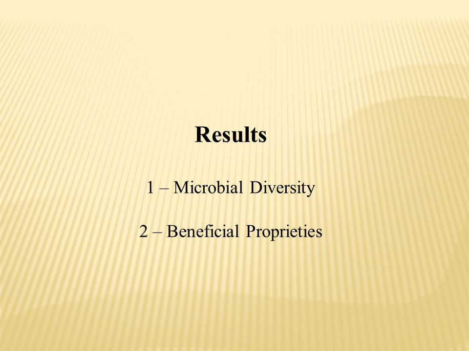 Results 1 – Microbial Diversity 2 – Beneficial Proprieties