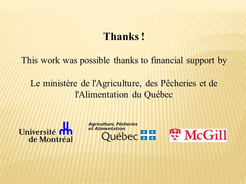 Thanks ! This work was possible thanks to financial support by Le ministère de l'Agriculture, des Pêcheries et de l'Alimentation du Québec