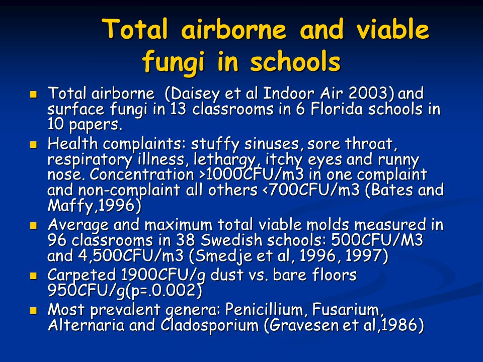 Total airborne and viable fungi in schools Total airborne (Daisey et al Indoor Air 2003) and surface fungi in 13 classrooms in 6 Florida schools in 10