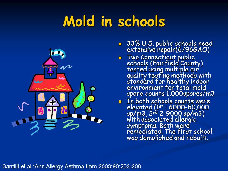 Mold in schools 33% U.S. public schools need extensive repair(6/96GAO) Two Connecticut public schools (Fairfield County) tested using multiple air qua