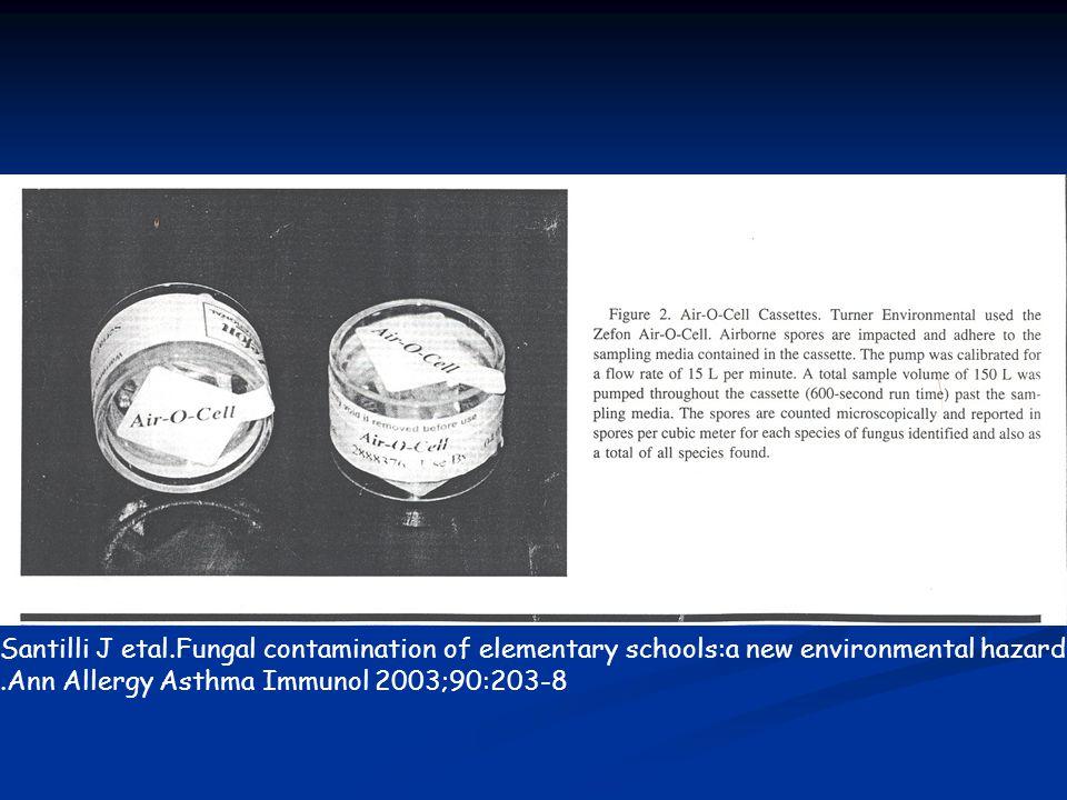 Santilli J etal.Fungal contamination of elementary schools:a new environmental hazard.Ann Allergy Asthma Immunol 2003;90:203-8