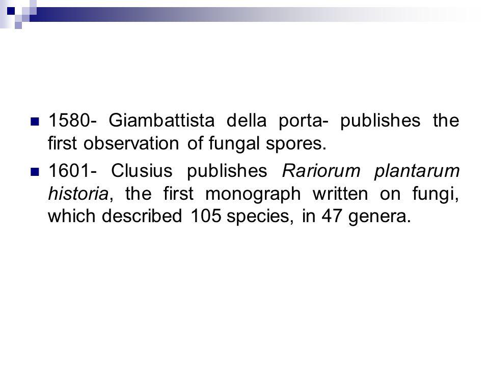 1580- Giambattista della porta- publishes the first observation of fungal spores.