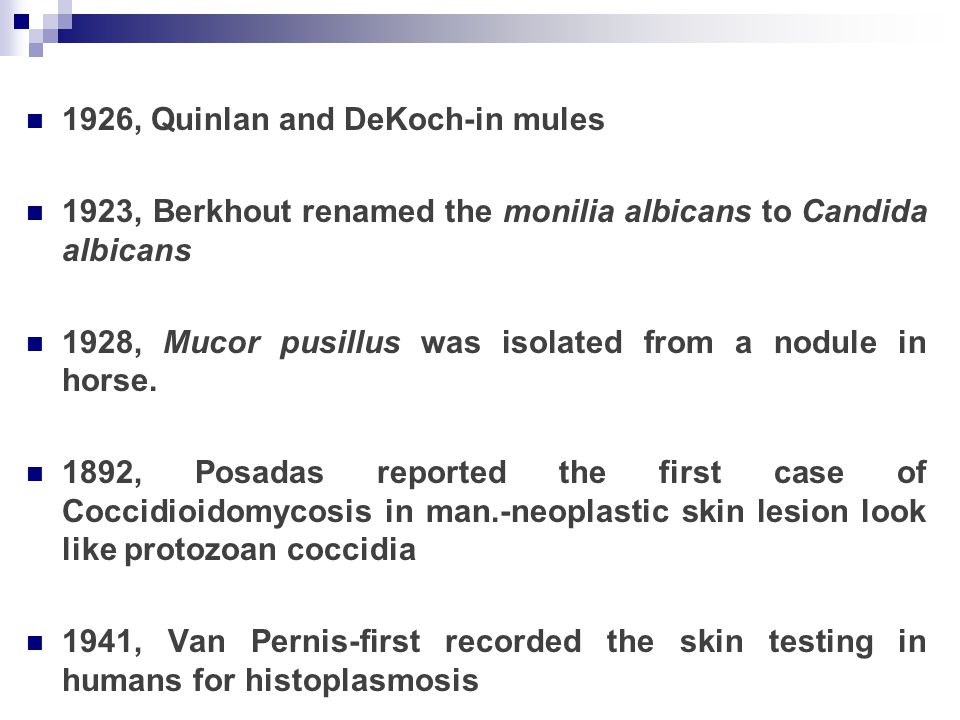 1926, Quinlan and DeKoch-in mules 1923, Berkhout renamed the monilia albicans to Candida albicans 1928, Mucor pusillus was isolated from a nodule in h