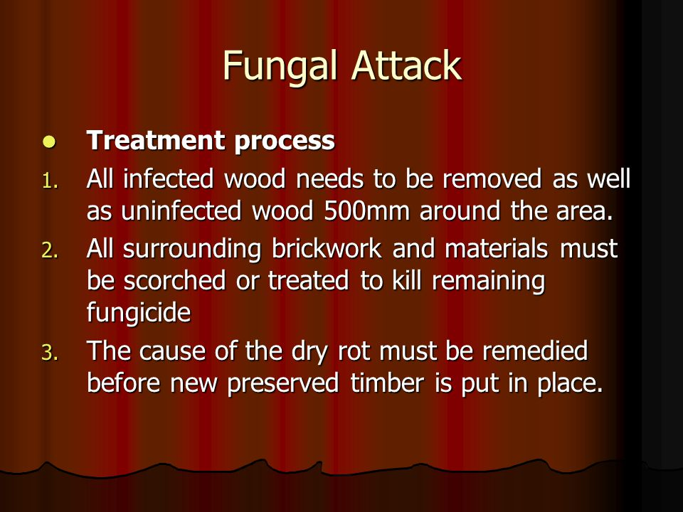 Fungal Attack Treatment process Treatment process 1. All infected wood needs to be removed as well as uninfected wood 500mm around the area. 2. All su