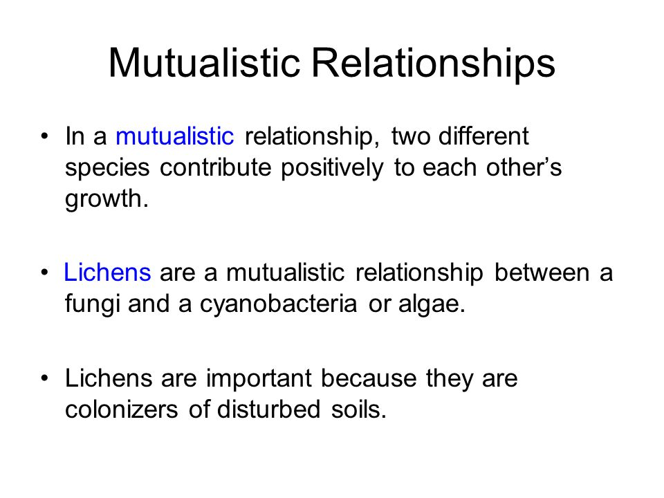 Mutualistic Relationships In a mutualistic relationship, two different species contribute positively to each other's growth. Lichens are a mutualistic