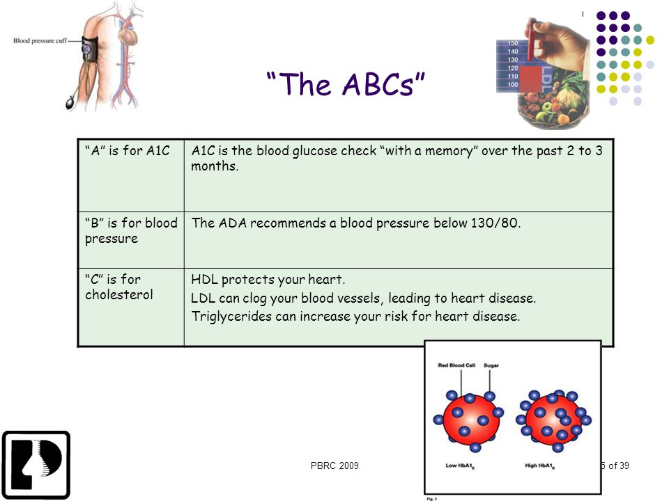 """PBRC 20095 of 39 """"A"""" is for A1CA1C is the blood glucose check """"with a memory"""" over the past 2 to 3 months. """"B"""" is for blood pressure The ADA recommend"""