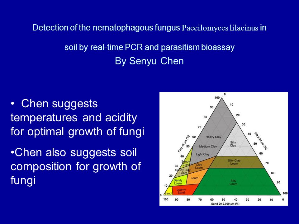 Detection of the nematophagous fungus Paecilomyces lilacinus in soil by real-time PCR and parasitism bioassay By Senyu Chen Chen suggests temperatures and acidity for optimal growth of fungi Chen also suggests soil composition for growth of fungi