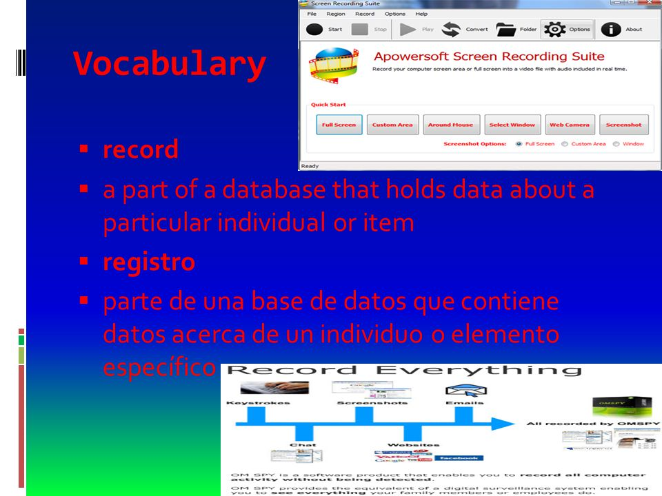Vocabulary  table  the underlying structure of a relational database characterized by rows and columns  tabla  estructura subyacente de una base de datos relacional caracterizada por filas y columnas