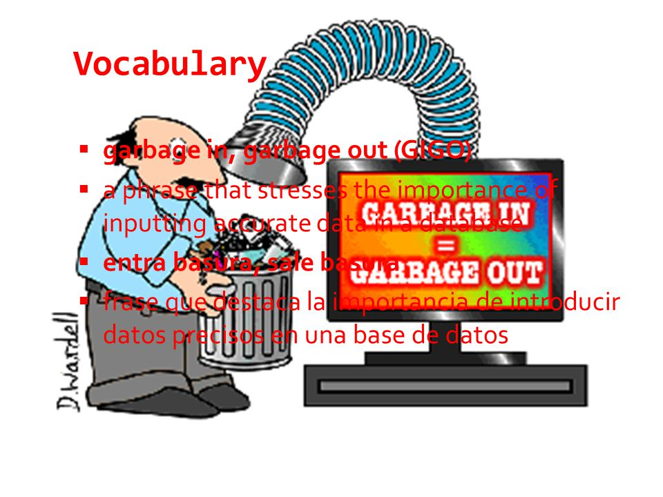 Vocabulary  data type  settings applied to a database field, which allow the field to store only information of a specific type and/or format  tipo de datos  parámetros que se aplican a un campo de base de datos, que permiten al campo almacenar información de un solo tipo y/o formato específico
