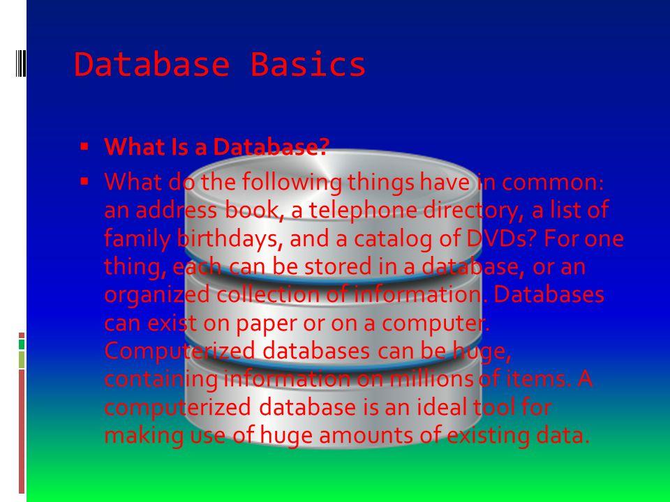 Database Basics  What Is a Database.