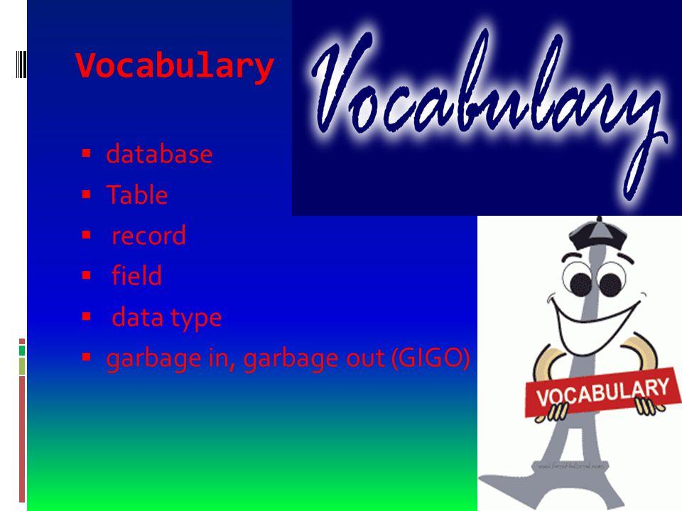 Vocabulary  flat-file database  a database that can work with only one table at a time  base de datos de archivos planos  una base de datos que trabaja sólo con un archivo a la vez