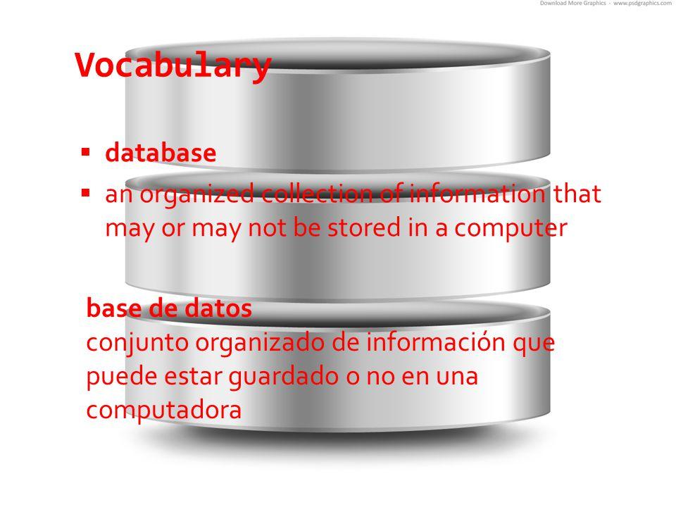 Vocabulary  key field  an element that links tables in a relational database  campo clave  elemento que enlaza tablas de una base de datos relacional