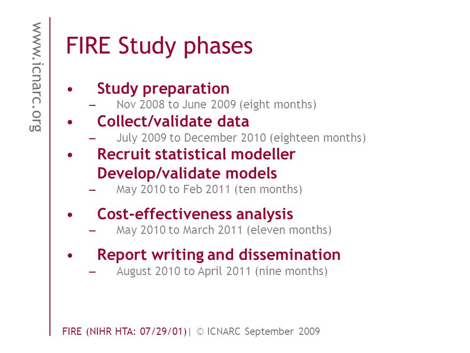 www.icnarc.org FIRE (NIHR HTA: 07/29/01)| © ICNARC September 2009 FIRE Study phases Study preparation – Nov 2008 to June 2009 (eight months) Collect/validate data – July 2009 to December 2010 (eighteen months) Recruit statistical modeller Develop/validate models – May 2010 to Feb 2011 (ten months) Cost-effectiveness analysis – May 2010 to March 2011 (eleven months) Report writing and dissemination – August 2010 to April 2011 (nine months)