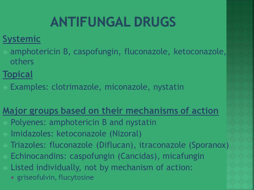 Systemic  amphotericin B, caspofungin, fluconazole, ketoconazole, others Topical  Examples: clotrimazole, miconazole, nystatin Major groups based on