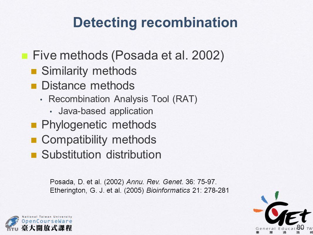 80 Detecting recombination Five methods (Posada et al. 2002) Similarity methods Distance methods Recombination Analysis Tool (RAT) Java-based applicat