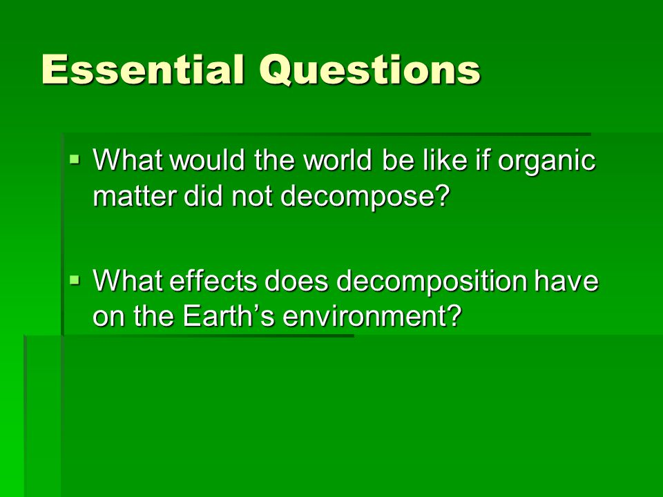 Essential Questions  What would the world be like if organic matter did not decompose?  What effects does decomposition have on the Earth's environm