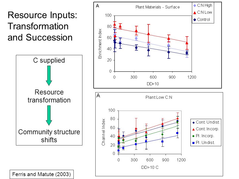 C supplied Resource transformation Community structure shifts Ferris and Matute (2003) Resource Inputs: Transformation and Succession