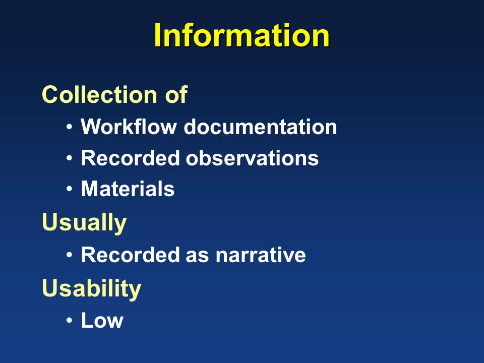 Information Collection of Workflow documentation Recorded observations Materials Usually Recorded as narrative Usability Low