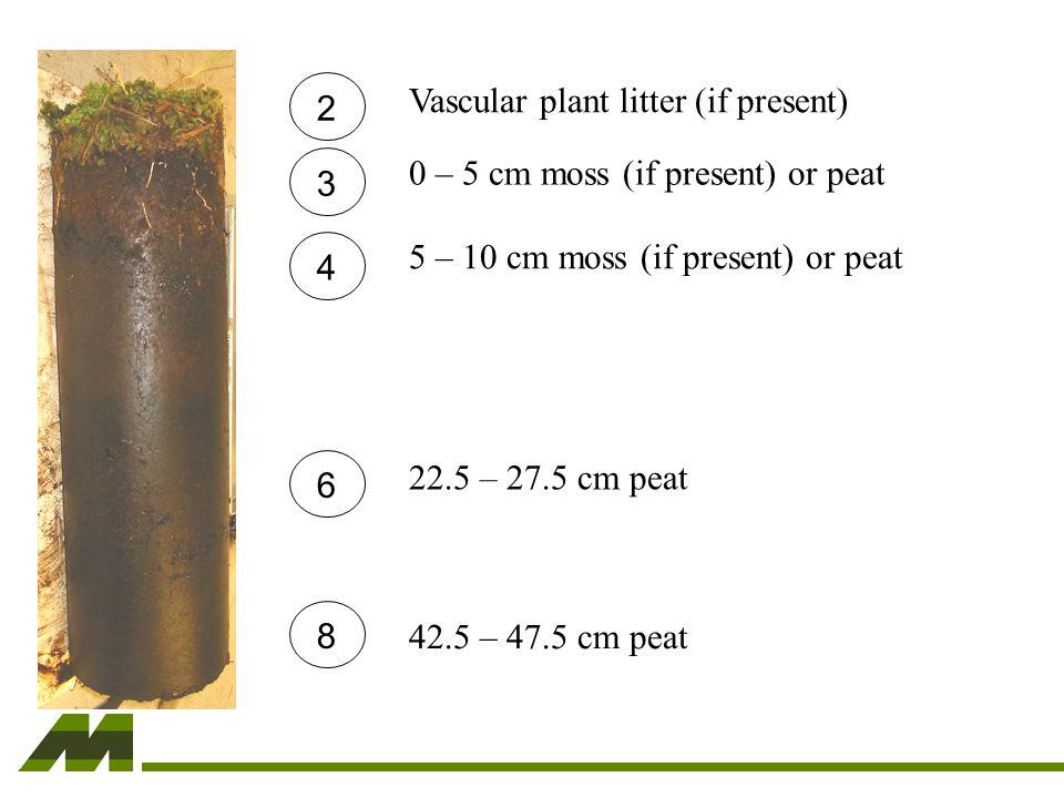 2 3 4 6 8 Vascular plant litter (if present)0 – 5 cm moss (if present) or peat 5 – 10 cm moss (if present) or peat 22.5 – 27.5 cm peat 42.5 – 47.5 cm peat