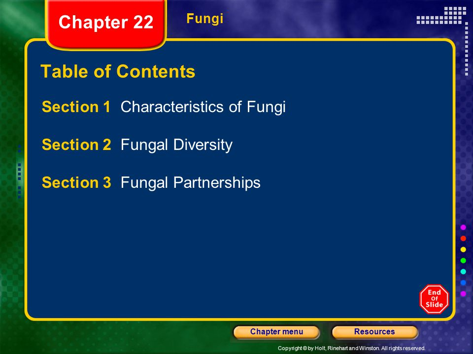 Copyright © by Holt, Rinehart and Winston. All rights reserved. ResourcesChapter menu Fungi Chapter 22 Table of Contents Section 1 Characteristics of