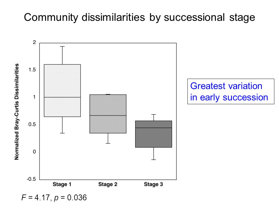 Community dissimilarities by successional stage Greatest variation in early succession F = 4.17, p = 0.036