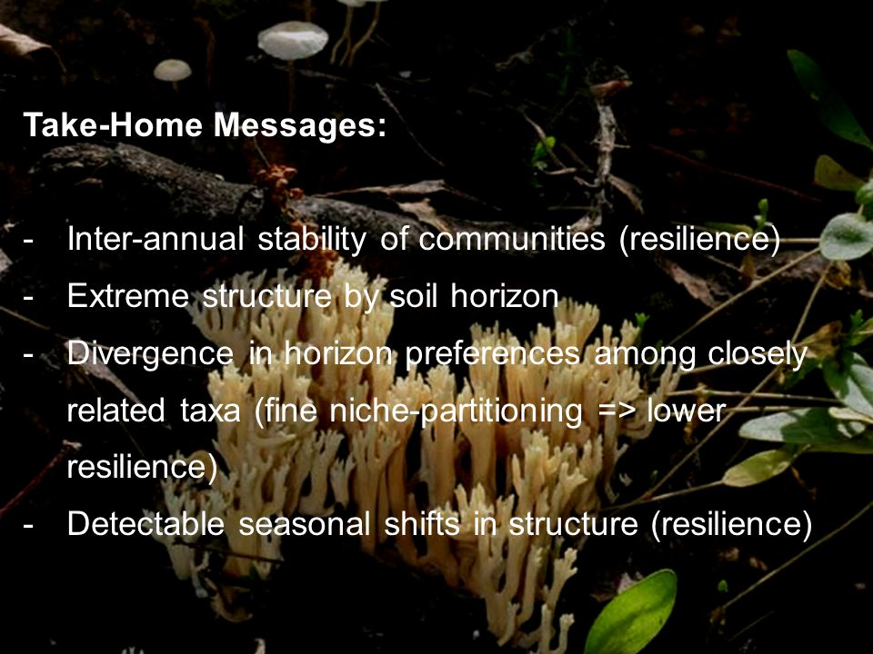 Take-Home Messages: -Inter-annual stability of communities (resilience) -Extreme structure by soil horizon -Divergence in horizon preferences among closely related taxa (fine niche-partitioning => lower resilience) -Detectable seasonal shifts in structure (resilience)
