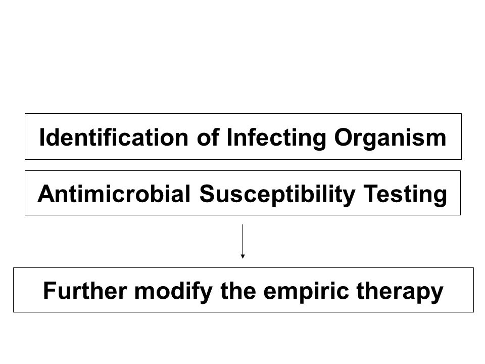 Identification of Infecting Organism Antimicrobial Susceptibility Testing Further modify the empiric therapy
