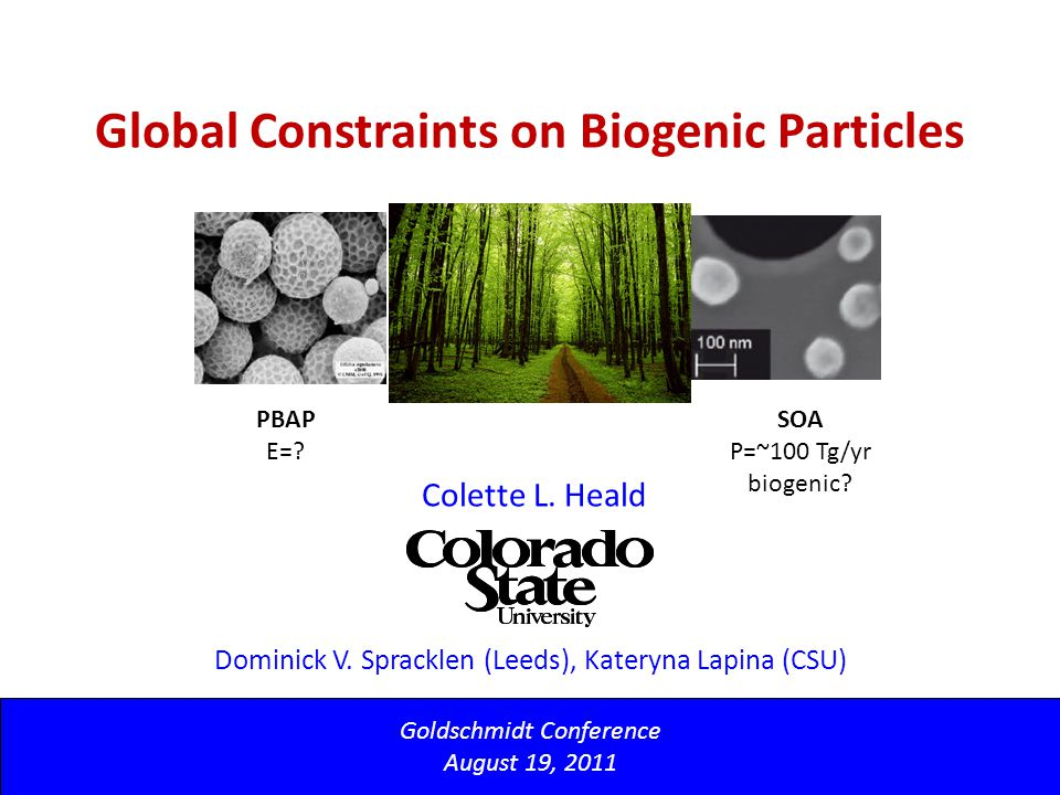 Global Constraints on Biogenic Particles Goldschmidt Conference August 19, 2011 Colette L.