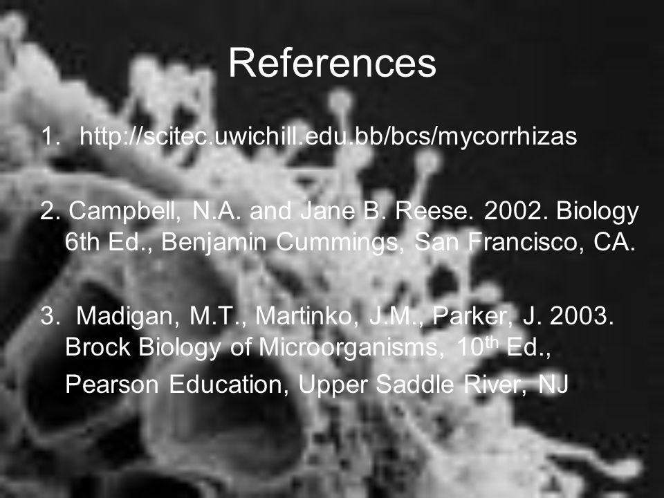 References 1. http://scitec.uwichill.edu.bb/bcs/mycorrhizas 2. Campbell, N.A. and Jane B. Reese. 2002. Biology 6th Ed., Benjamin Cummings, San Francis