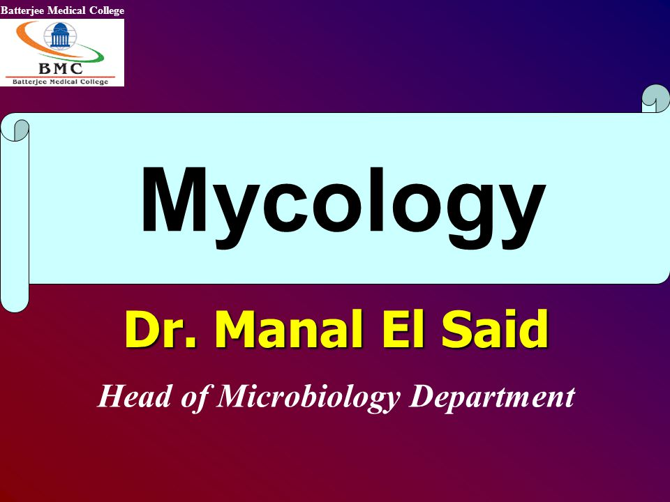Dr. Manal El Said Head of Microbiology Department Mycology