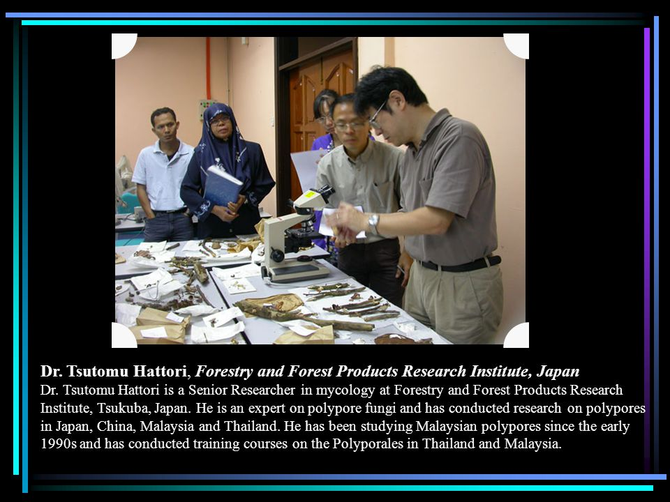 Dr. Tsutomu Hattori, Forestry and Forest Products Research Institute, Japan Dr. Tsutomu Hattori is a Senior Researcher in mycology at Forestry and For