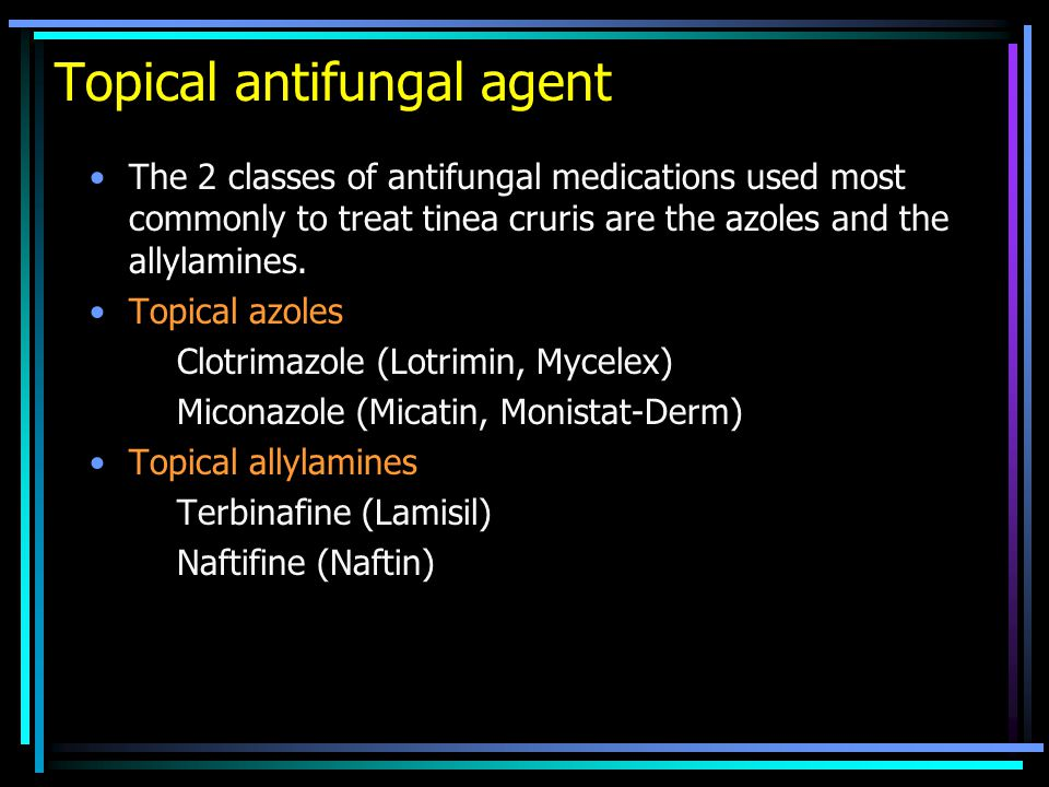 The 2 classes of antifungal medications used most commonly to treat tinea cruris are the azoles and the allylamines.