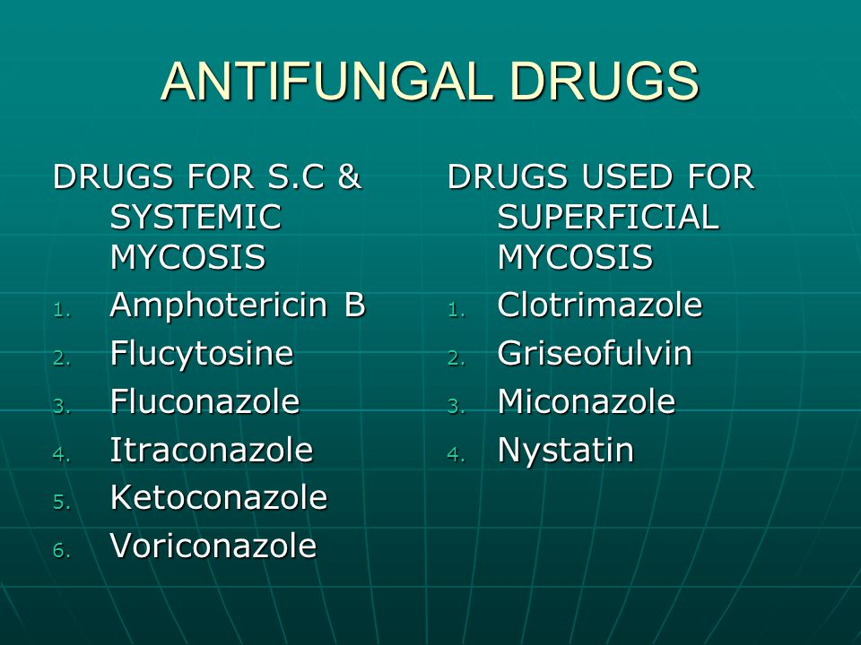 Antifungals - systemic Amphotericn B Amphotericn B Naturally occuring produced by streptomyces nodosus.