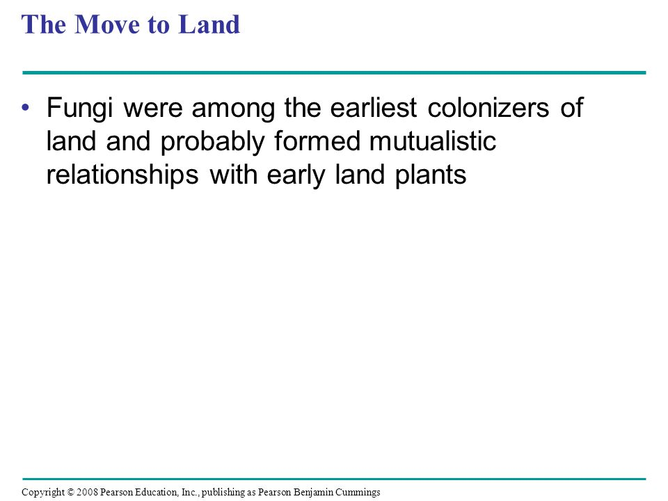 Copyright © 2008 Pearson Education, Inc., publishing as Pearson Benjamin Cummings The Move to Land Fungi were among the earliest colonizers of land and probably formed mutualistic relationships with early land plants
