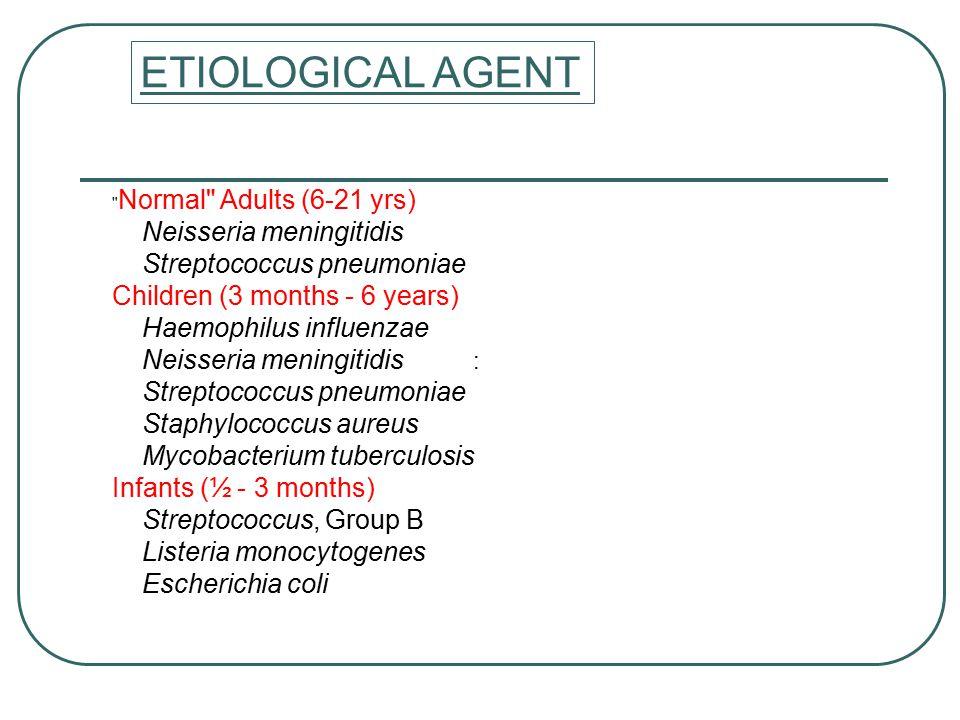 : ETIOLOGICAL AGENT Normal Adults (6-21 yrs) Neisseria meningitidis Streptococcus pneumoniae Children (3 months - 6 years) Haemophilus influenzae Neisseria meningitidis Streptococcus pneumoniae Staphylococcus aureus Mycobacterium tuberculosis Infants (½ - 3 months) Streptococcus, Group B Listeria monocytogenes Escherichia coli