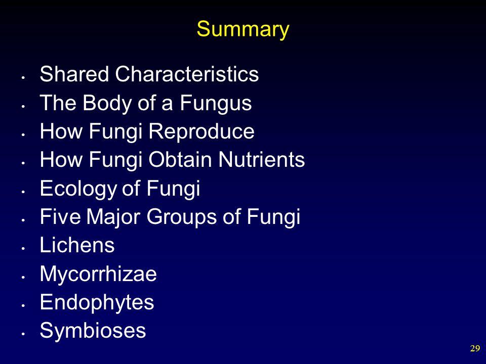 29 Summary Shared Characteristics The Body of a Fungus How Fungi Reproduce How Fungi Obtain Nutrients Ecology of Fungi Five Major Groups of Fungi Lich