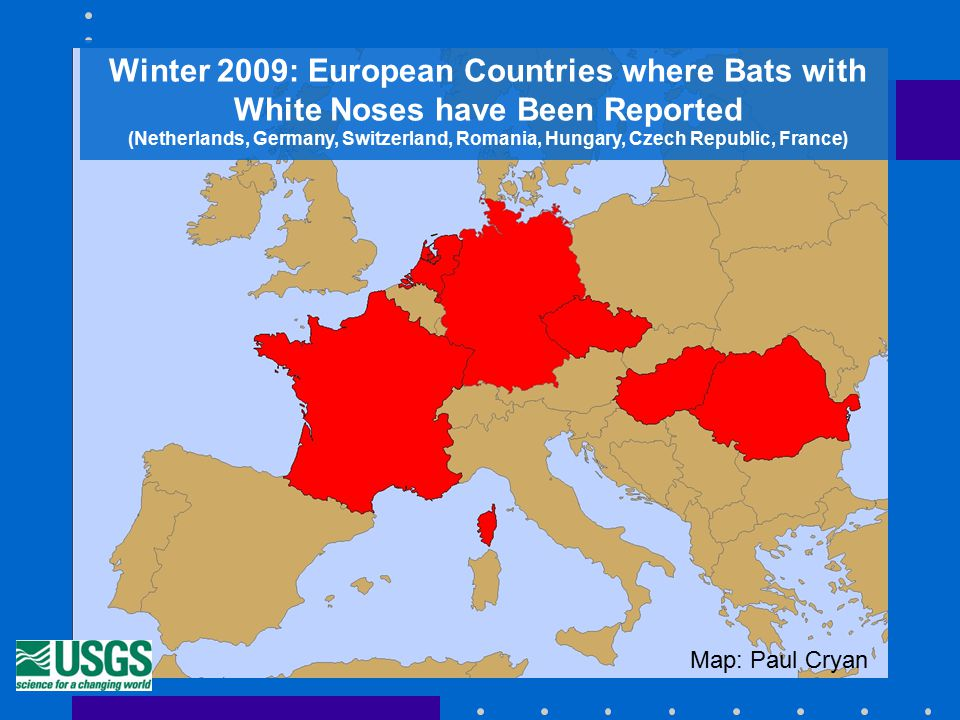Winter 2009: European Countries where Bats with White Noses have Been Reported (Netherlands, Germany, Switzerland, Romania, Hungary, Czech Republic, France) Map: Paul Cryan