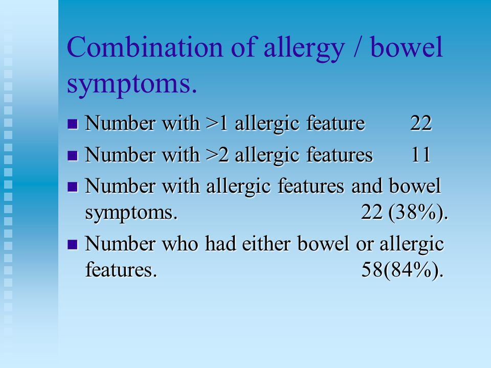 Combination of allergy / bowel symptoms.