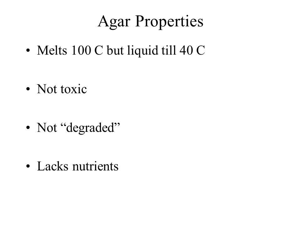 Agar Properties Melts 100 C but liquid till 40 C Not toxic Not degraded Lacks nutrients