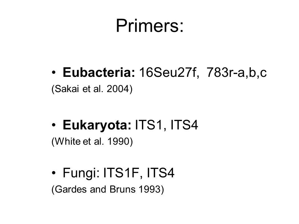 Primers: Eubacteria: 16Seu27f, 783r-a,b,c (Sakai et al. 2004) Eukaryota: ITS1, ITS4 (White et al. 1990) Fungi: ITS1F, ITS4 (Gardes and Bruns 1993)