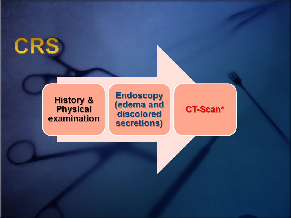 History & Physical examination Endoscopy (edema and discolored secretions) CT-Scan*