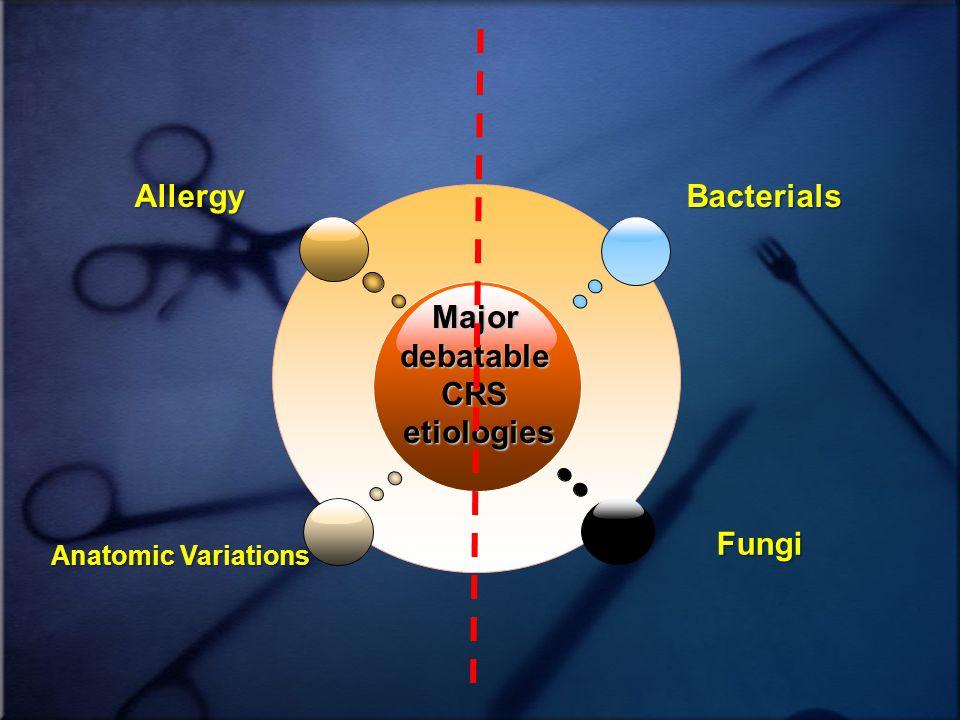 MajordebatableCRSetiologies AllergyBacterials Anatomic Variations Fungi