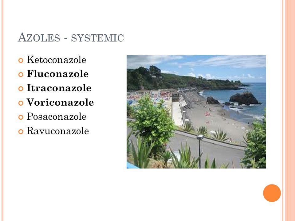 A ZOLES - SYSTEMIC Ketoconazole Fluconazole Itraconazole Voriconazole Posaconazole Ravuconazole